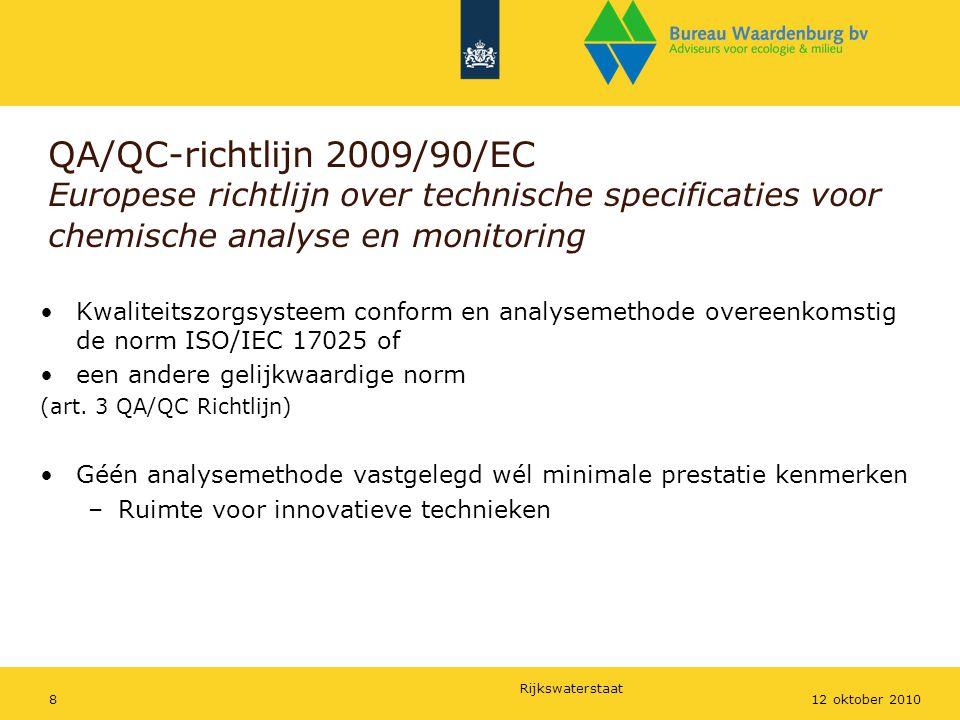 Rijkswaterstaat 812 oktober 2010 QA/QC-richtlijn 2009/90/EC Europese richtlijn over technische specificaties voor chemische analyse en monitoring Kwal