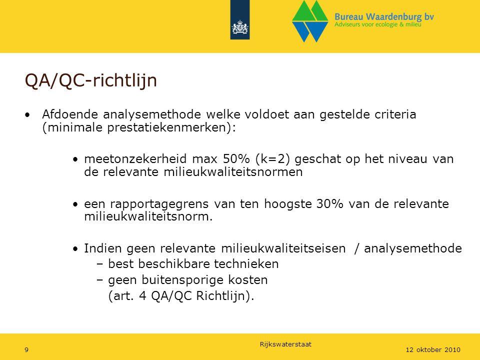 Rijkswaterstaat 912 oktober 2010 QA/QC-richtlijn Afdoende analysemethode welke voldoet aan gestelde criteria (minimale prestatiekenmerken): meetonzeke