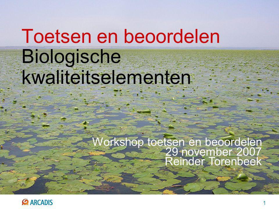 1 Toetsen en beoordelen Biologische kwaliteitselementen Workshop toetsen en beoordelen 29 november 2007 Reinder Torenbeek