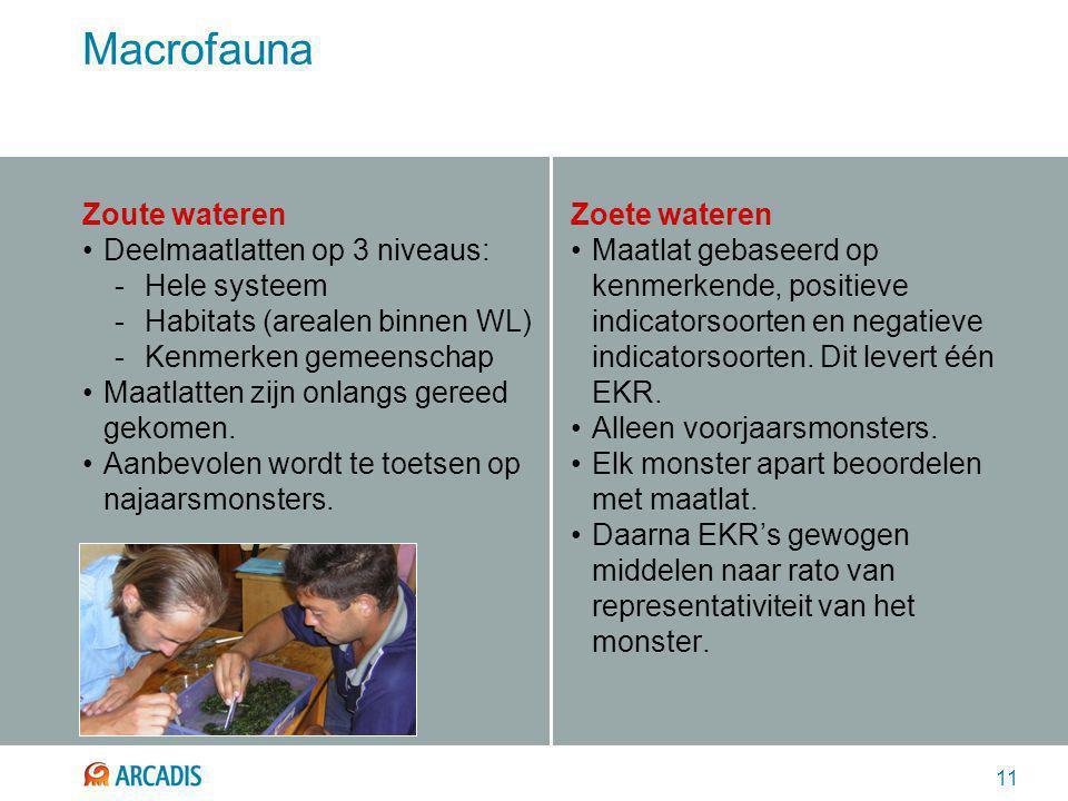11 Macrofauna Zoute wateren Deelmaatlatten op 3 niveaus: -Hele systeem -Habitats (arealen binnen WL) -Kenmerken gemeenschap Maatlatten zijn onlangs gereed gekomen.