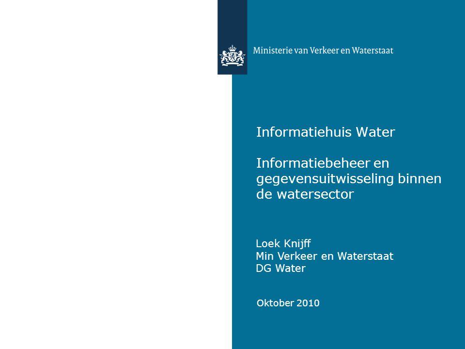 Informatiehuis Water Informatiebeheer en gegevensuitwisseling binnen de watersector Loek Knijff Min Verkeer en Waterstaat DG Water Oktober 2010