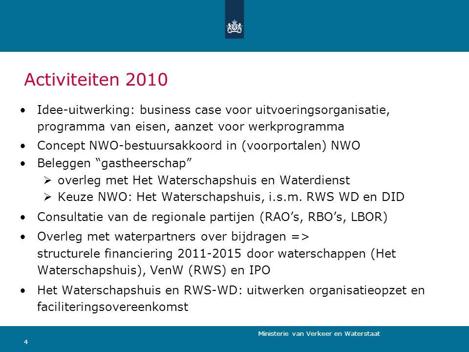 Ministerie van Verkeer en Waterstaat 4 Activiteiten 2010 Idee-uitwerking: business case voor uitvoeringsorganisatie, programma van eisen, aanzet voor