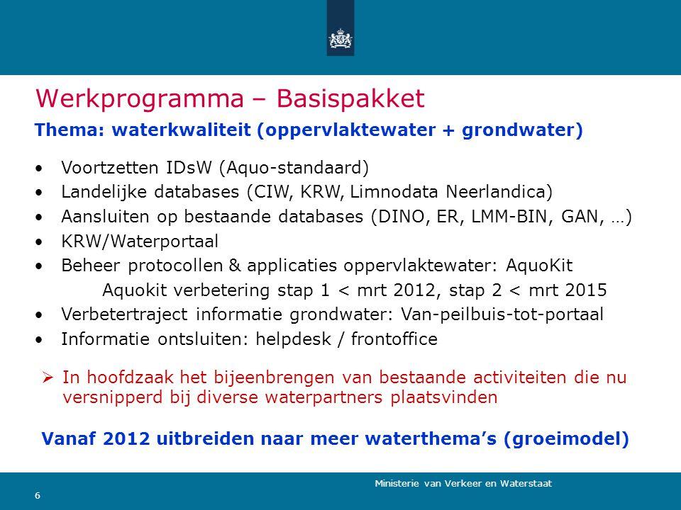 Ministerie van Verkeer en Waterstaat 6 Werkprogramma – Basispakket Thema: waterkwaliteit (oppervlaktewater + grondwater)  In hoofdzaak het bijeenbren
