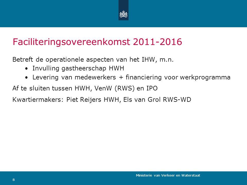 Ministerie van Verkeer en Waterstaat 8 Faciliteringsovereenkomst 2011-2016 Betreft de operationele aspecten van het IHW, m.n. Invulling gastheerschap