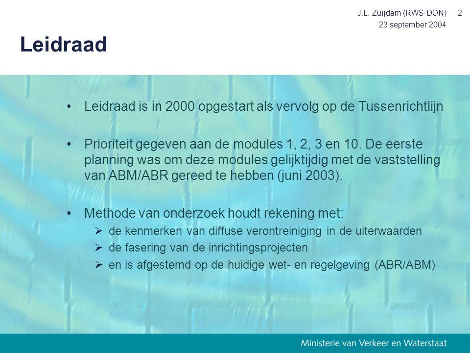 23 september 2004 J.L. Zuijdam (RWS-DON)2 Leidraad Leidraad is in 2000 opgestart als vervolg op de Tussenrichtlijn Prioriteit gegeven aan de modules 1