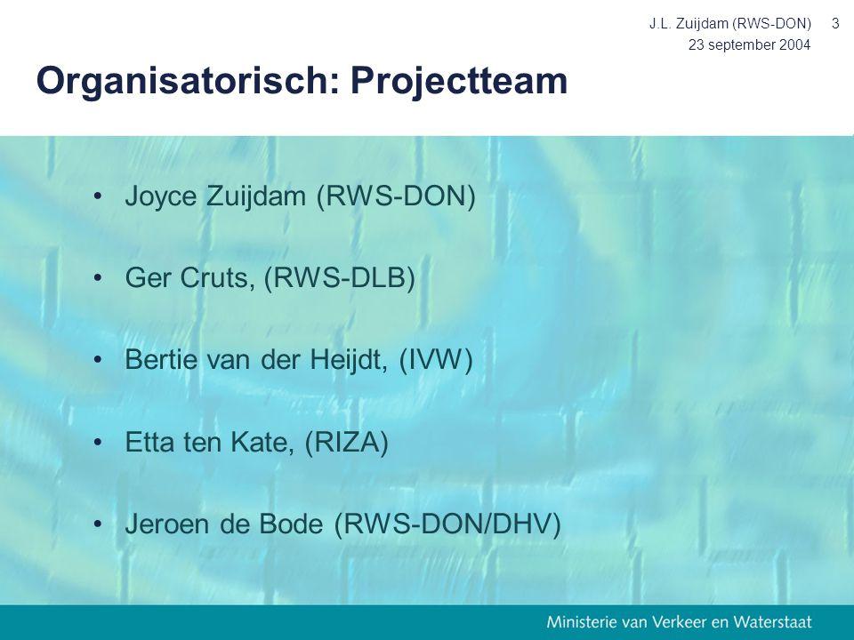 23 september 2004 J.L. Zuijdam (RWS-DON)3 Organisatorisch: Projectteam Joyce Zuijdam (RWS-DON) Ger Cruts, (RWS-DLB) Bertie van der Heijdt, (IVW) Etta
