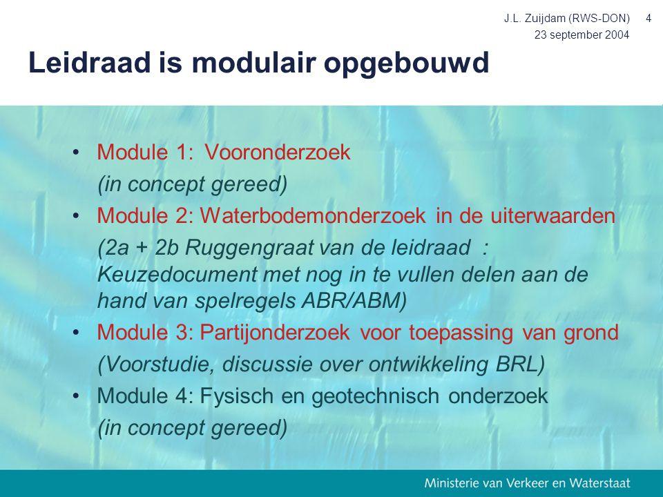 23 september 2004 J.L. Zuijdam (RWS-DON)4 Leidraad is modulair opgebouwd Module 1:Vooronderzoek (in concept gereed) Module 2: Waterbodemonderzoek in d