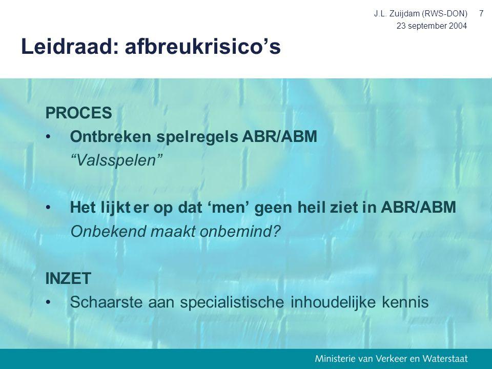 """23 september 2004 J.L. Zuijdam (RWS-DON)7 Leidraad: afbreukrisico's PROCES Ontbreken spelregels ABR/ABM """"Valsspelen"""" Het lijkt er op dat 'men' geen he"""