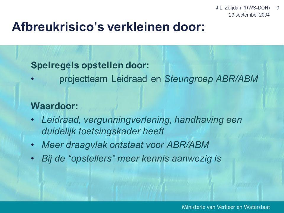 23 september 2004 J.L. Zuijdam (RWS-DON)9 Afbreukrisico's verkleinen door: Spelregels opstellen door: projectteam Leidraad en Steungroep ABR/ABM Waard