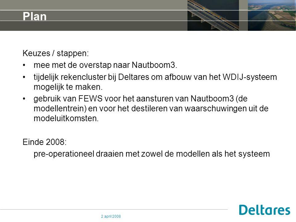 2 april 2008 Plan Keuzes / stappen: mee met de overstap naar Nautboom3. tijdelijk rekencluster bij Deltares om afbouw van het WDIJ-systeem mogelijk te