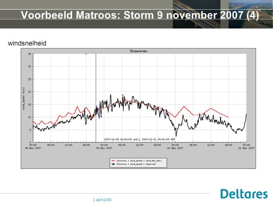 2 april 2008 Voorbeeld Matroos: Storm 9 november 2007 (4) windsnelheid