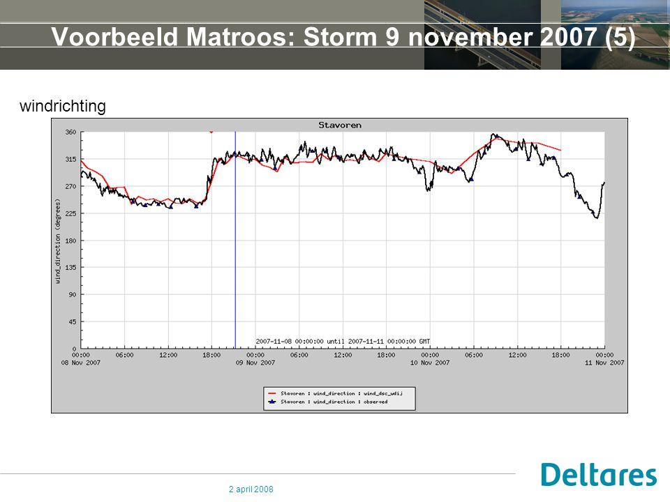 2 april 2008 Voorbeeld Matroos: Storm 9 november 2007 (5) Voorbeeld Matroos: Storm 9 november 2007 (1) windrichting