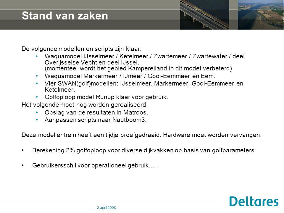 2 april 2008 Stand van zaken De volgende modellen en scripts zijn klaar: Waquamodel IJsselmeer / Ketelmeer / Zwartemeer / Zwartewater / deel Overijsselse Vecht en deel IJssel.