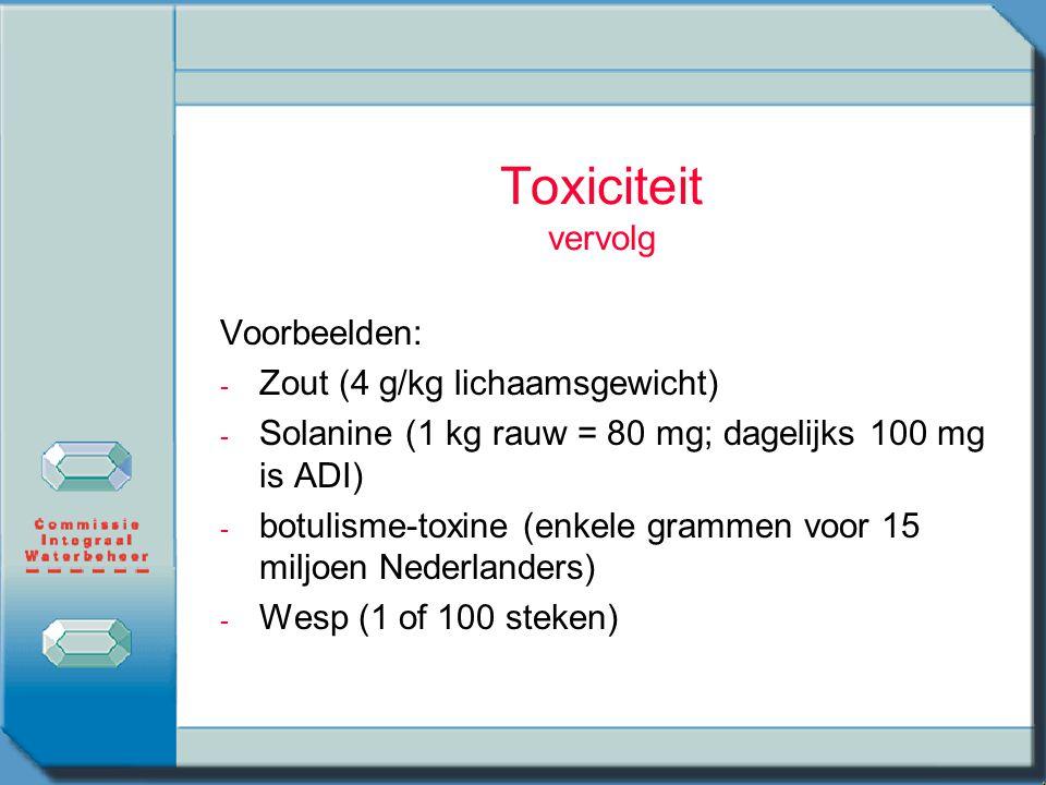 Toxiciteit vervolg Voorbeelden: - - Zout (4 g/kg lichaamsgewicht) - - Solanine (1 kg rauw = 80 mg; dagelijks 100 mg is ADI) - - botulisme-toxine (enke