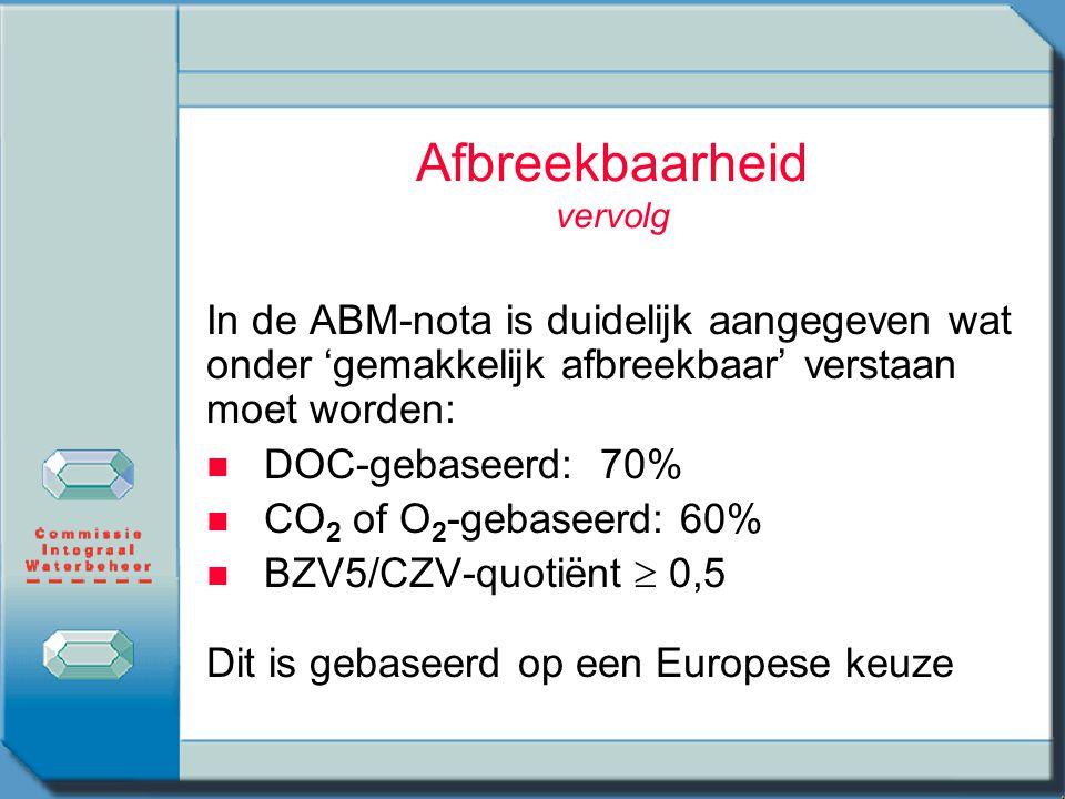 Afbreekbaarheid vervolg In de ABM-nota is duidelijk aangegeven wat onder 'gemakkelijk afbreekbaar' verstaan moet worden: n n DOC-gebaseerd: 70% n n CO