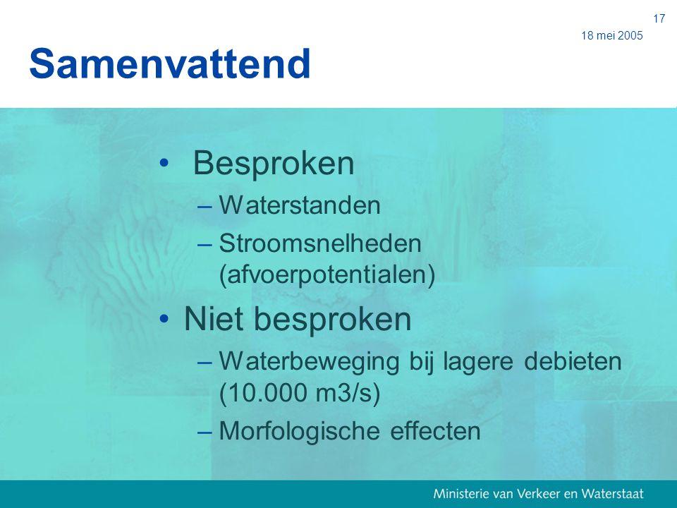 18 mei 2005 17 Samenvattend Besproken –Waterstanden –Stroomsnelheden (afvoerpotentialen) Niet besproken –Waterbeweging bij lagere debieten (10.000 m3/