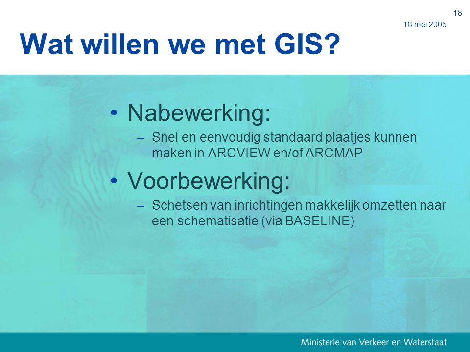 18 mei 2005 18 Wat willen we met GIS? Nabewerking: –Snel en eenvoudig standaard plaatjes kunnen maken in ARCVIEW en/of ARCMAP Voorbewerking: –Schetsen