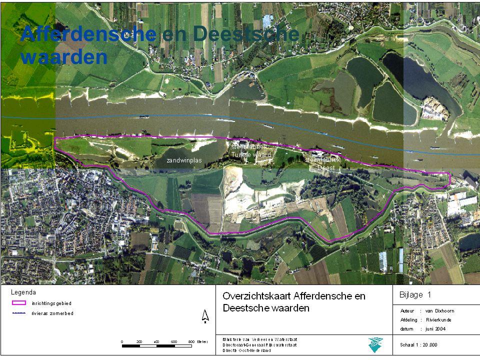 Rivierverruiming Principe 7 of 15 waterstand bij 15.000 m 3 /s waterstand bij 16.000 m 3 /s Project gebied doel
