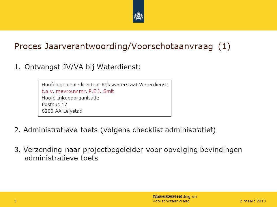 Rijkswaterstaat Jaarverantwoording en Voorschotaanvraag32 maart 2010 Proces Jaarverantwoording/Voorschotaanvraag (1) 1.Ontvangst JV/VA bij Waterdienst