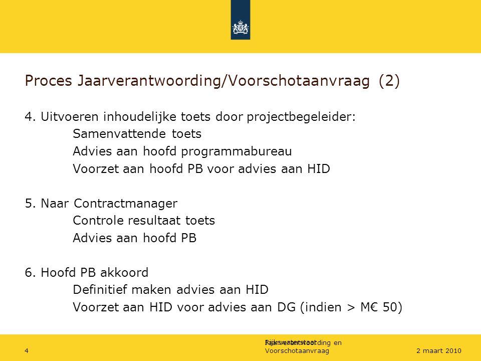 Rijkswaterstaat Jaarverantwoording en Voorschotaanvraag42 maart 2010 Proces Jaarverantwoording/Voorschotaanvraag (2) 4. Uitvoeren inhoudelijke toets d