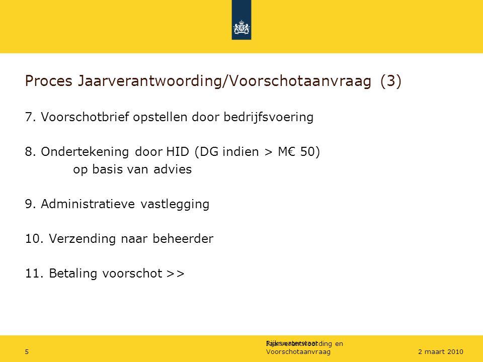 Rijkswaterstaat Jaarverantwoording en Voorschotaanvraag52 maart 2010 Proces Jaarverantwoording/Voorschotaanvraag (3) 7. Voorschotbrief opstellen door