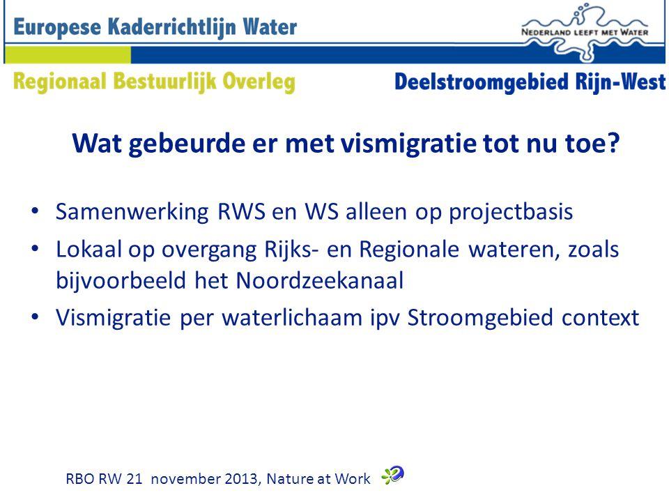Wat gebeurde er met vismigratie tot nu toe? Samenwerking RWS en WS alleen op projectbasis Lokaal op overgang Rijks- en Regionale wateren, zoals bijvoo