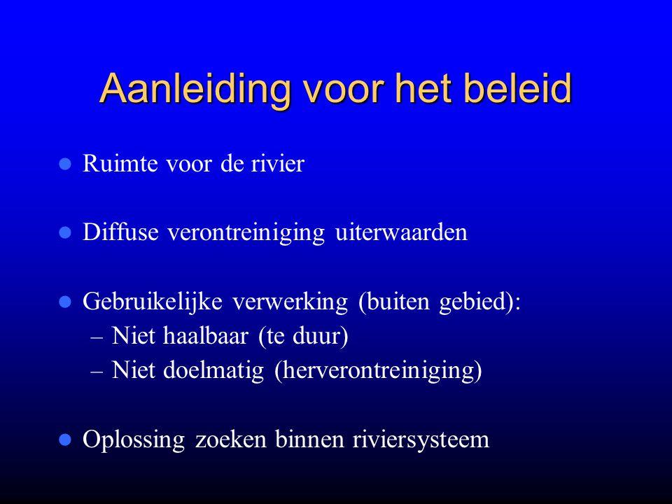 Aanleiding voor het beleid Ruimte voor de rivier Diffuse verontreiniging uiterwaarden Gebruikelijke verwerking (buiten gebied): – Niet haalbaar (te du