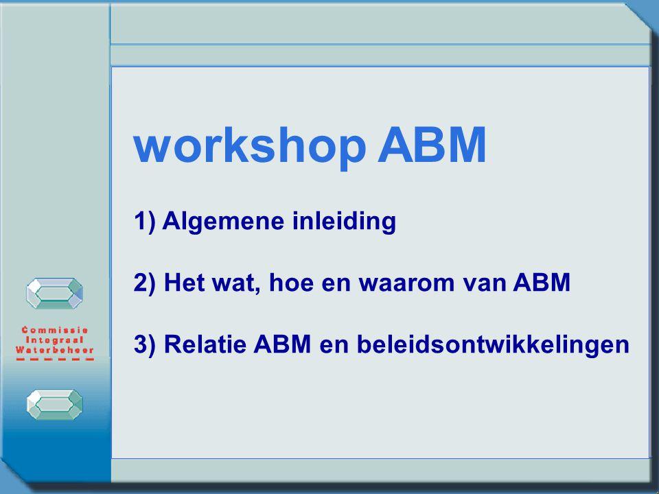 workshop ABM 1) Algemene inleiding 2) Het wat, hoe en waarom van ABM 3) Relatie ABM en beleidsontwikkelingen