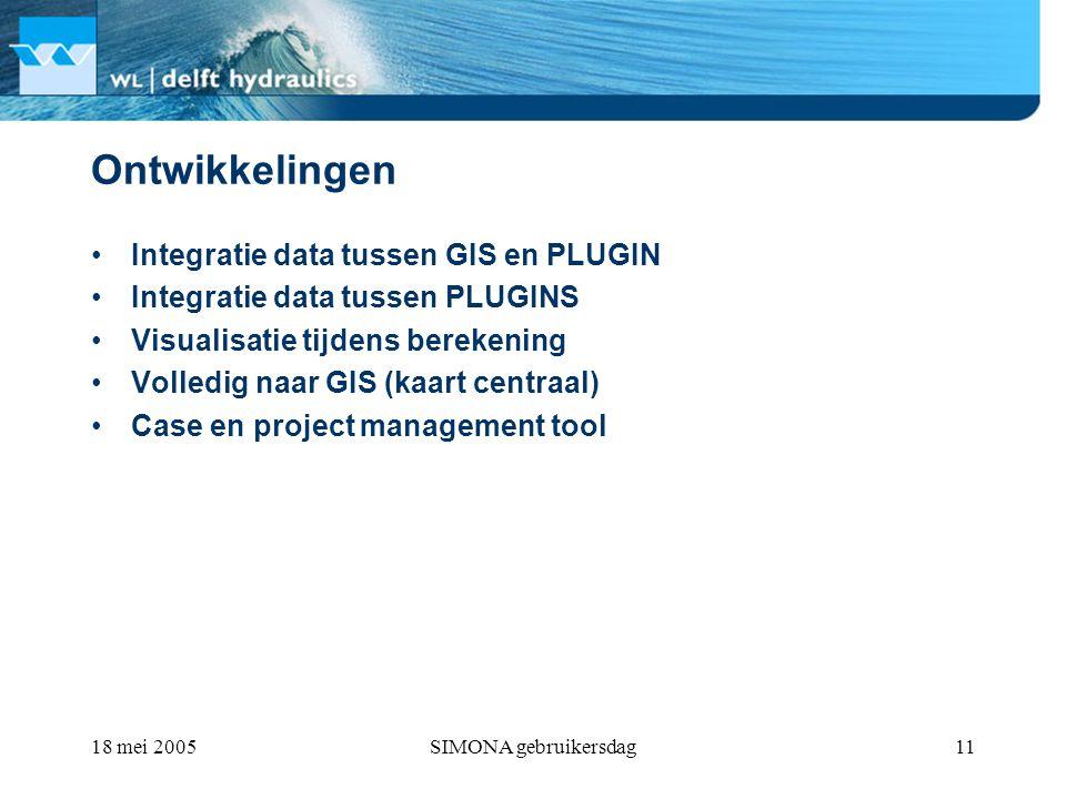 18 mei 2005SIMONA gebruikersdag11 Ontwikkelingen Integratie data tussen GIS en PLUGIN Integratie data tussen PLUGINS Visualisatie tijdens berekening Volledig naar GIS (kaart centraal) Case en project management tool