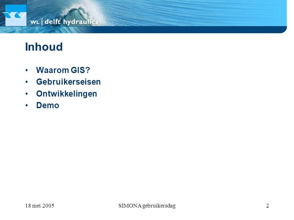 SIMONA gebruikersdag2 Inhoud Waarom GIS Gebruikerseisen Ontwikkelingen Demo