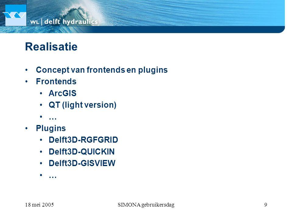 18 mei 2005SIMONA gebruikersdag9 Realisatie Concept van frontends en plugins Frontends ArcGIS QT (light version) … Plugins Delft3D-RGFGRID Delft3D-QUICKIN Delft3D-GISVIEW …