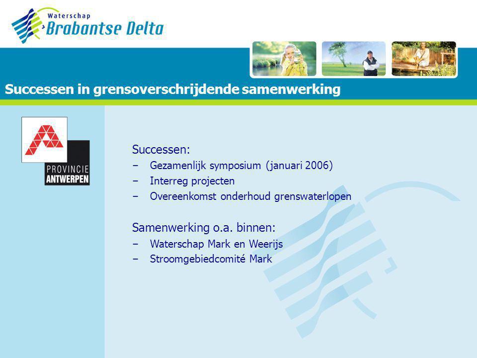 Successen in grensoverschrijdende samenwerking Successen: – Gezamenlijk symposium (januari 2006) – Interreg projecten – Overeenkomst onderhoud grenswaterlopen Samenwerking o.a.