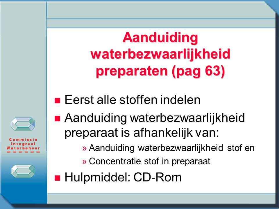 Aanduiding waterbezwaarlijkheid preparaten (pag 63) Eerst alle stoffen indelen Aanduiding waterbezwaarlijkheid preparaat is afhankelijk van: » »Aandui