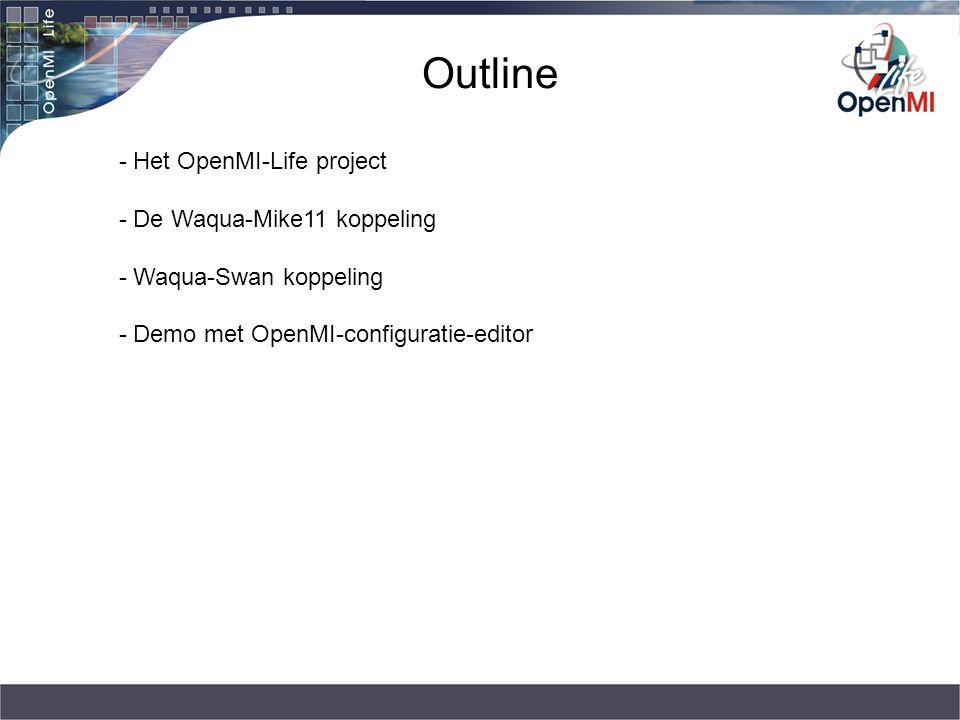 Outline - Het OpenMI-Life project - De Waqua-Mike11 koppeling - Waqua-Swan koppeling - Demo met OpenMI-configuratie-editor