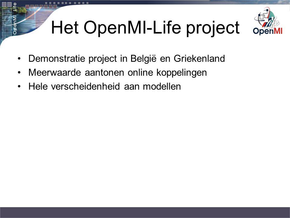 Het OpenMI-Life project Demonstratie project in België en Griekenland Meerwaarde aantonen online koppelingen Hele verscheidenheid aan modellen