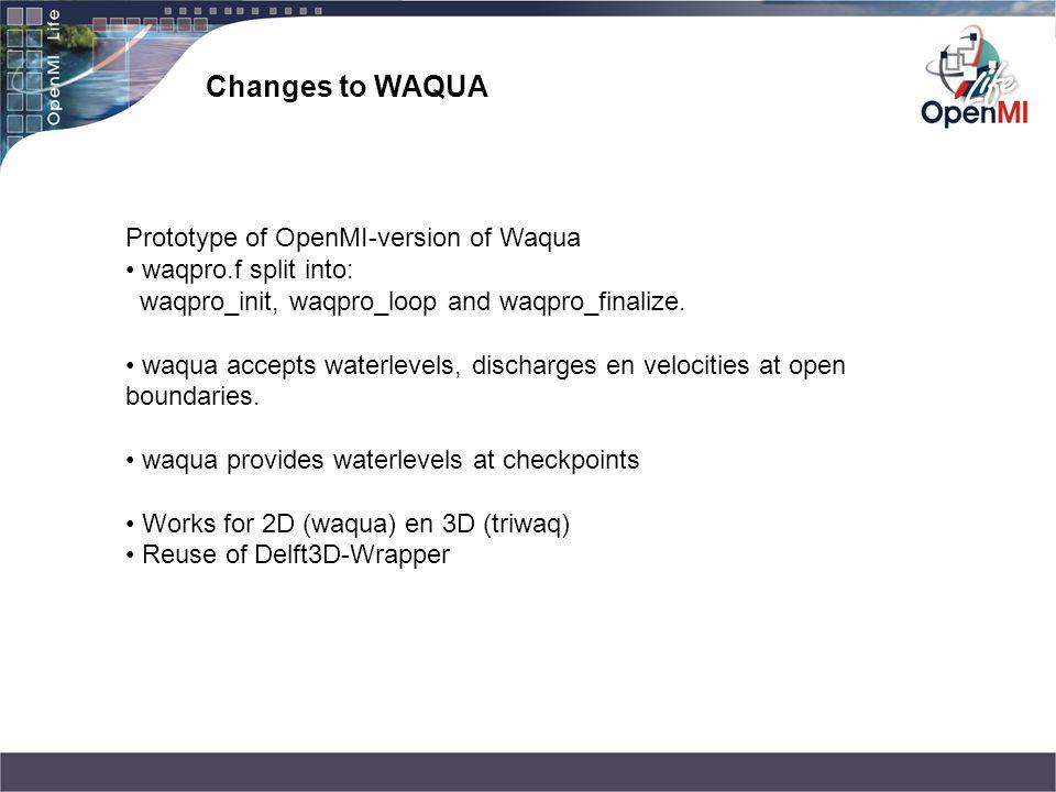 Changes to WAQUA Prototype of OpenMI-version of Waqua waqpro.f split into: waqpro_init, waqpro_loop and waqpro_finalize. waqua accepts waterlevels, di