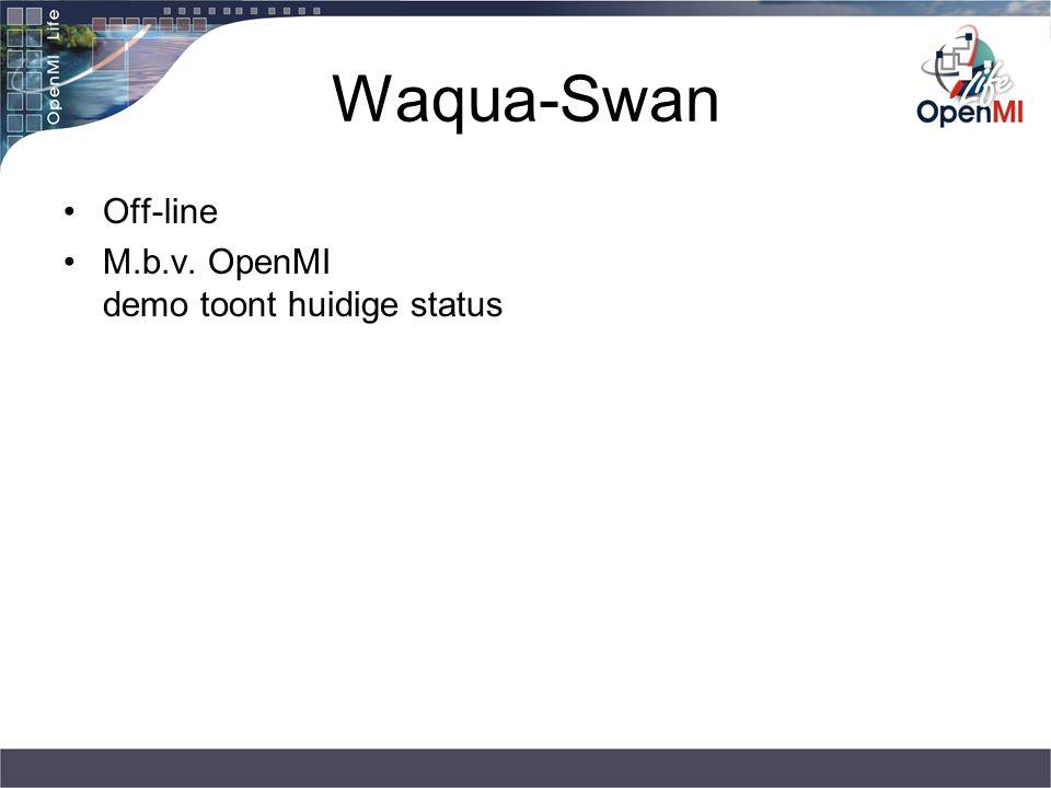 Waqua-Swan Off-line M.b.v. OpenMI demo toont huidige status