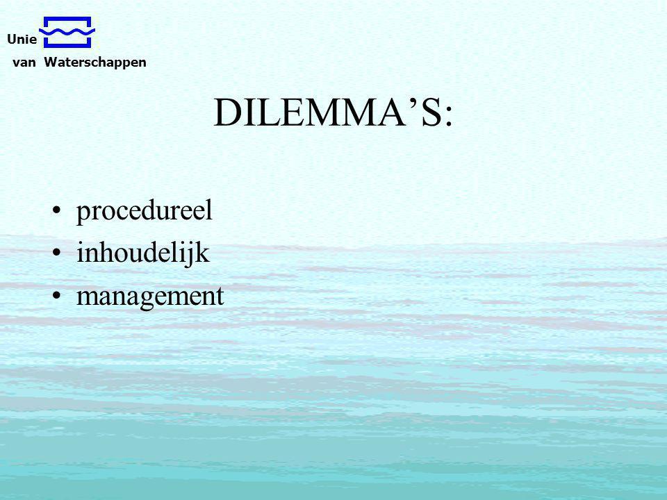 Unie van Waterschappen DILEMMA'S: procedureel inhoudelijk management