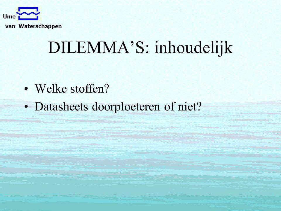 Unie van Waterschappen DILEMMA'S: inhoudelijk Welke stoffen Datasheets doorploeteren of niet