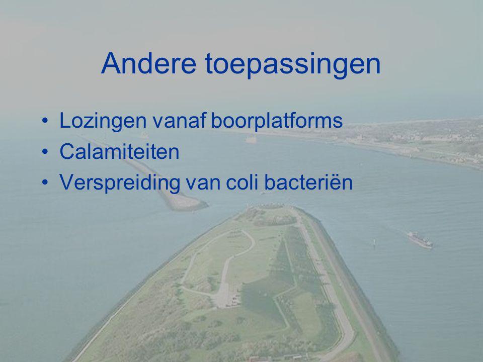 Andere toepassingen Lozingen vanaf boorplatforms Calamiteiten Verspreiding van coli bacteriën