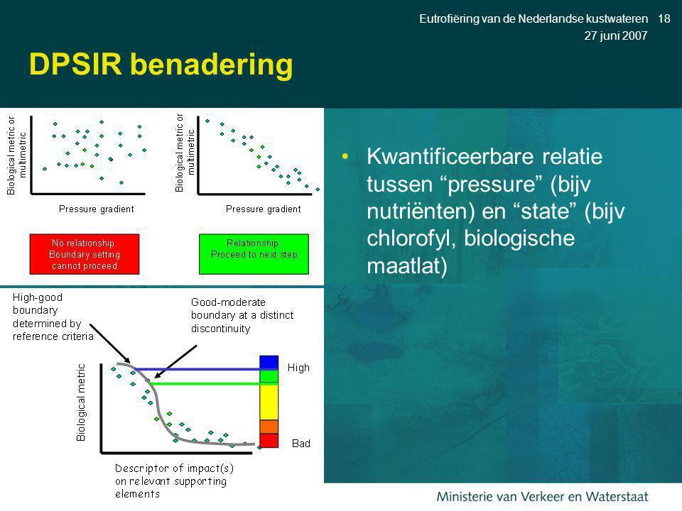 """27 juni 2007 Eutrofiëring van de Nederlandse kustwateren18 DPSIR benadering Kwantificeerbare relatie tussen """"pressure"""" (bijv nutriënten) en """"state"""" (b"""