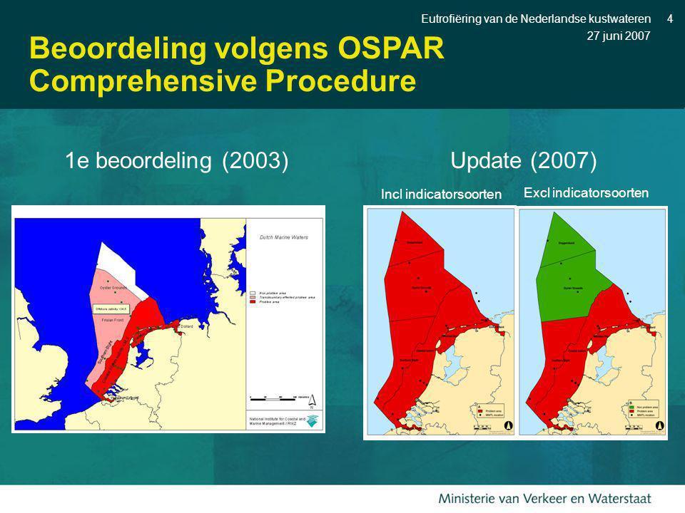 27 juni 2007 Eutrofiëring van de Nederlandse kustwateren4 Beoordeling volgens OSPAR Comprehensive Procedure Update (2007) Incl indicatorsoorten Excl i