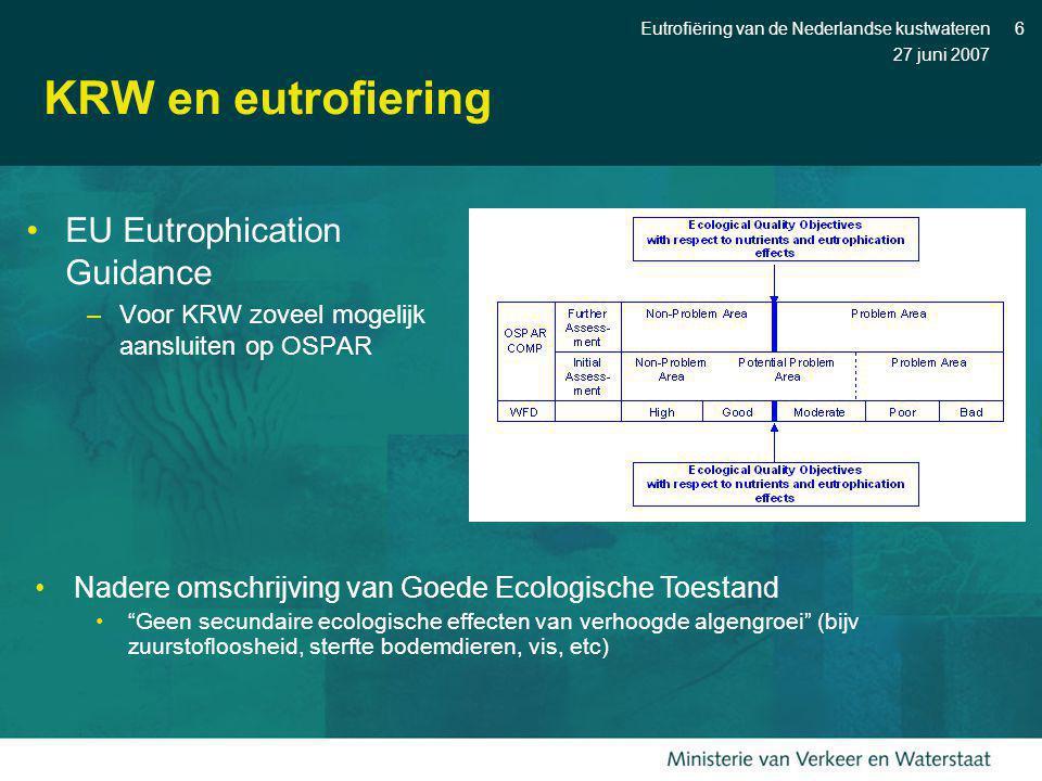 27 juni 2007 Eutrofiëring van de Nederlandse kustwateren6 KRW en eutrofiering EU Eutrophication Guidance –Voor KRW zoveel mogelijk aansluiten op OSPAR