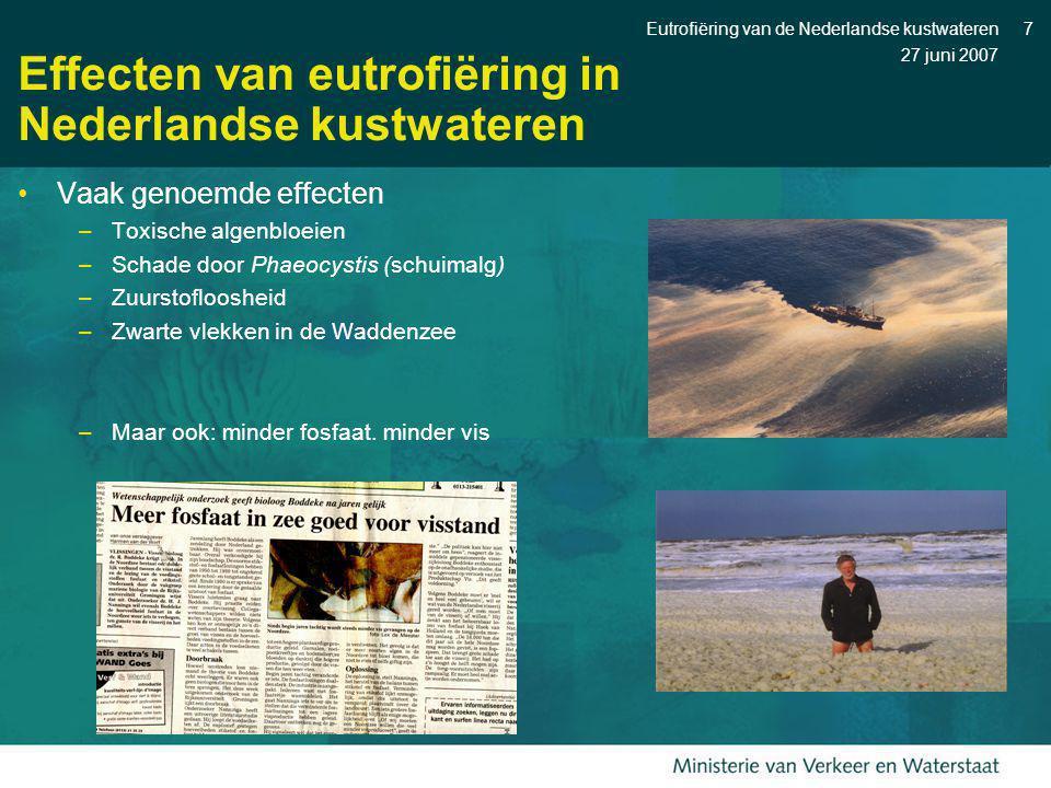 27 juni 2007 Eutrofiëring van de Nederlandse kustwateren7 Effecten van eutrofiëring in Nederlandse kustwateren Vaak genoemde effecten –Toxische algenb