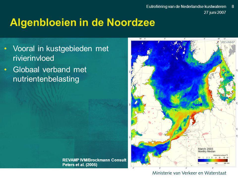 27 juni 2007 Eutrofiëring van de Nederlandse kustwateren8 Algenbloeien in de Noordzee REVAMP IVM/Brockmann Consult Peters et al. (2005) Vooral in kust