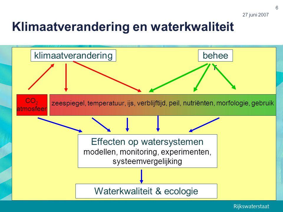 27 juni 2007 6 Effecten op watersystemen modellen, monitoring, experimenten, systeemvergelijking zeespiegel, temperatuur, ijs, v erblijftijd, peil, nutriënten, morfologie, gebruik klimaatveranderingbehee r Waterkwaliteit & ecologie CO 2 atmosfeer Klimaatverandering en waterkwaliteit