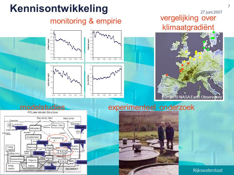 27 juni 2007 7 modelstudiesexperimenteel onderzoek monitoring & empirie vergelijking over klimaatgradiënt Europe © NASA Earth Observatory Kennisontwikkeling