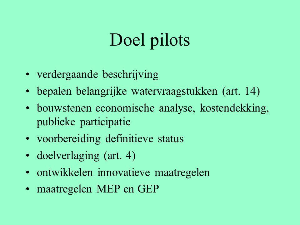 Doel pilots verdergaande beschrijving bepalen belangrijke watervraagstukken (art. 14) bouwstenen economische analyse, kostendekking, publieke particip