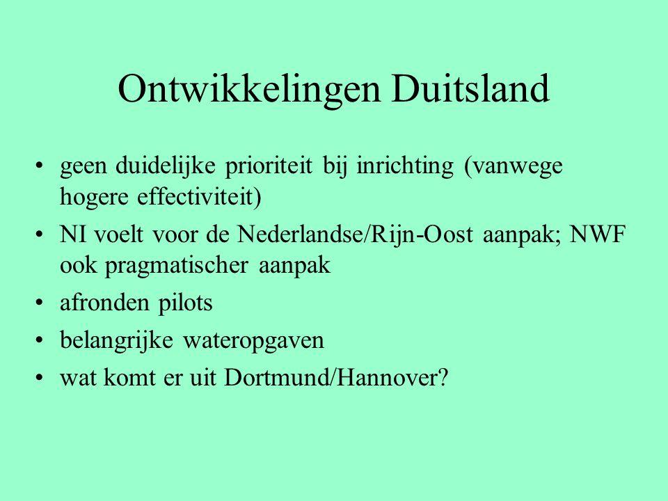 Ontwikkelingen Duitsland geen duidelijke prioriteit bij inrichting (vanwege hogere effectiviteit) NI voelt voor de Nederlandse/Rijn-Oost aanpak; NWF ook pragmatischer aanpak afronden pilots belangrijke wateropgaven wat komt er uit Dortmund/Hannover