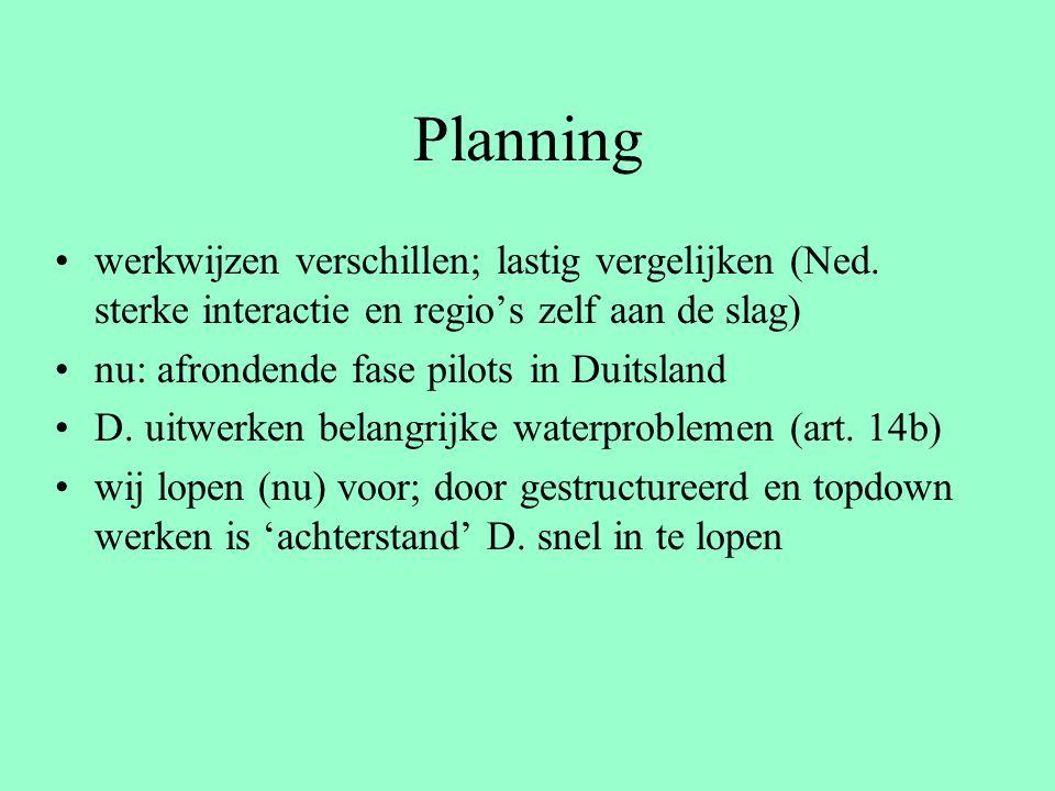 Planning werkwijzen verschillen; lastig vergelijken (Ned. sterke interactie en regio's zelf aan de slag) nu: afrondende fase pilots in Duitsland D. ui